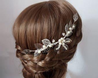 Leaf Hair Piece, Leaf hair Comb, Bridal Hair Comb Silver Leaf Head Piece Wedding Hairpiece, Wedding Headpiece Pearl Bridal Hair Piece Leaves
