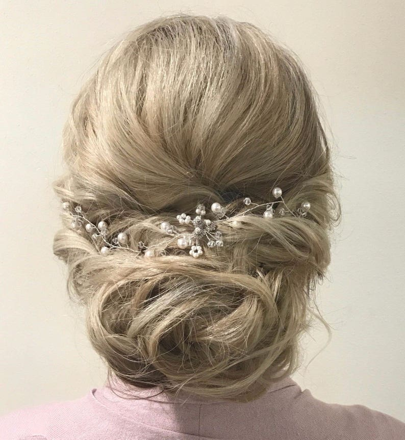 Wedding Hair Piece Pearl Wedding Hair Vine Bridal Hair Piece silver/ivory pearl