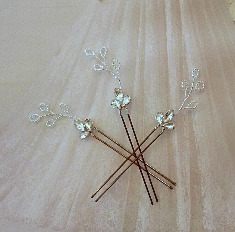 Gold Hair Piece for wedding crystal Hair Pins Leaf hair Pins Gold Bridal Hair Pins
