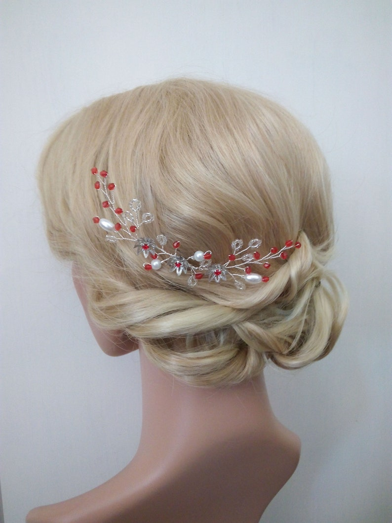Wedding Hairpiece Crystals hair comb Red hair Vine Wedding hair comb Hair Accessory Red Hair Comb Red hair Pin Prom Bridal Headpiece