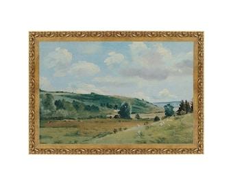 Vintage Meadow Landscape Painting. Olive Green Pasture Print.