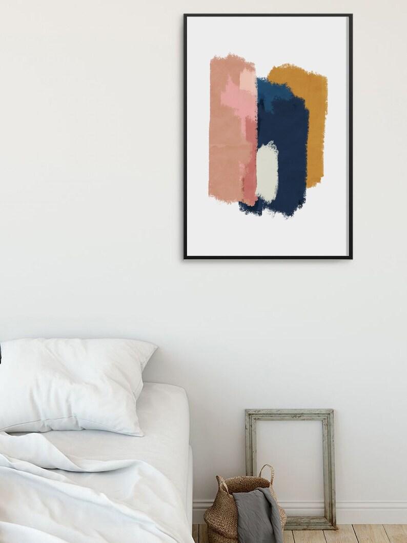 Marine Abstrait Wall Art Et Jaune Blush PinkBleu Moutarde R3j54AL