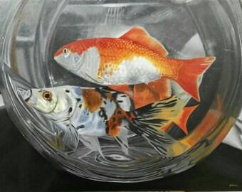 "oil on canvas ""Peces"", original art work"