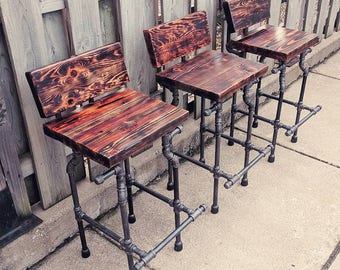 Merveilleux Custom Bar Stool   The Damon   Charred Finish And Black Pipe Legs
