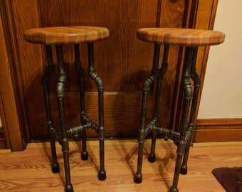 Oak and Cherry Pipe Bar Stools