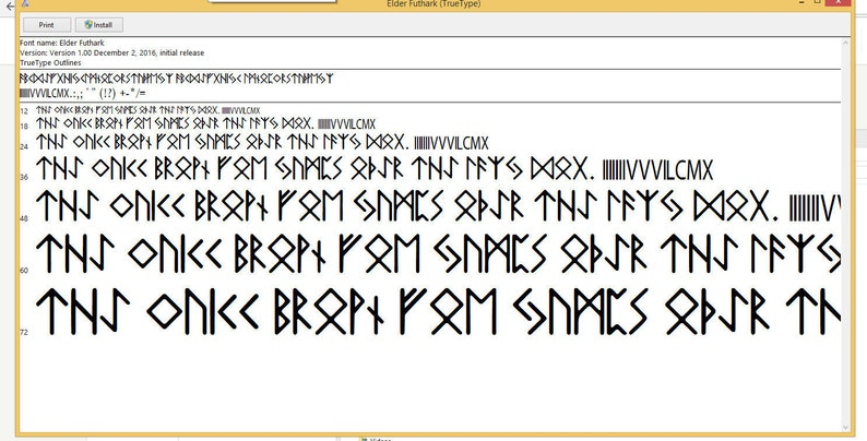 Elder Futhark Runic Font in Regular Font Formats  woff   otf, and  ttf