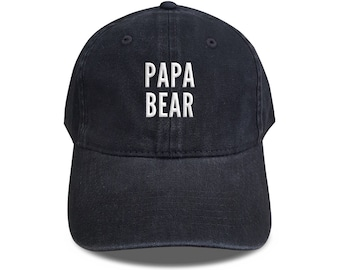 3664de7bfa3 Papa Bear Baseball Hat Cotton Embroidered Cap Denim Unisex Hat