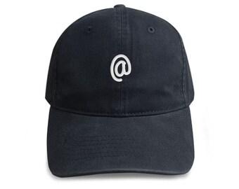 7e07ada673f32 At sign symbol Hat Embroidered Cap Denim Unisex Hat Black Color Hat Soldier  Cap Tumblr Pinterest