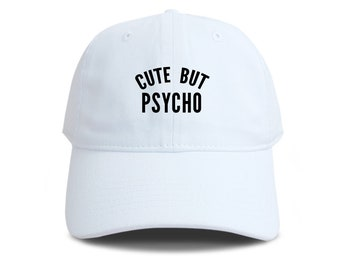 72a41df649a6c CUTE BUT PSYCHO Baseball Hat Cotton Embroidered Cap Denim Unisex Hat Black  Color Hat Soldier Cap Tumblr Pinterest