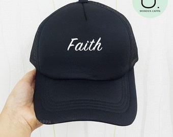 e6072ab08b32e Faith Unisex Baseball Head Hat Cotton Foam Mesh Trucker Cap Embroidered Cap