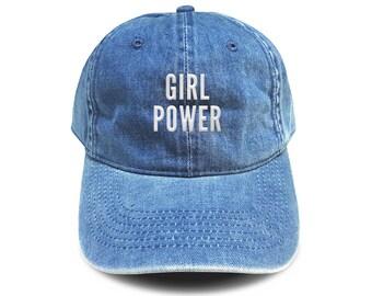 ec78af5ae835c Girl Power Baseball Hat Cotton Embroidered Cap Denim Unisex Hat Black Color  Hat Soldier Cap Tumblr Pinterest