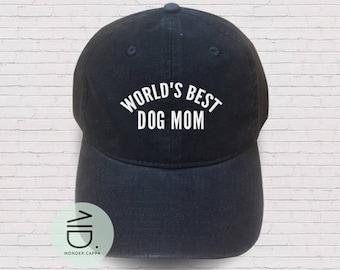 e0f4c09d8d29d World s Best Dog Mom Hat Embroidered Cap Mother day Denim Unisex Hat Mom  Color Hat Soldier Cap Tumblr Pinterest
