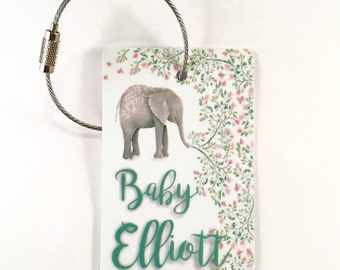 Elephant Mom And Baby Luggage Tag Label Travel Bag Label With Privacy Cover Luggage Tag Leather Personalized Suitcase Tag Travel Accessories