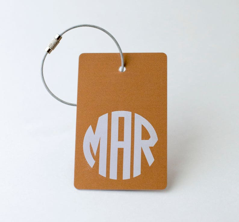 Copper Monogram Luggage Tag  FREE SHIPPING Copper Monogram image 0