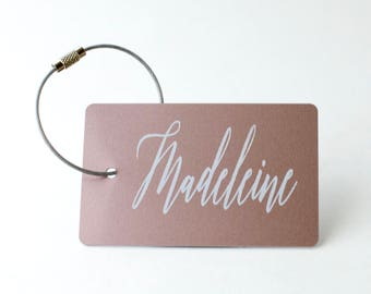 Custom Luggage Tag - FREE SHIPPING, Rose Gold Personalized Luggage Tag, Bag Tag, Back Pack Tag, Travel Gift, Luggage Tag Personalized