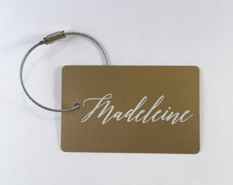 Luggage Tag - FREE SHIPPING, Gold and White Personalized Luggage Tag, Custom Luggage Tag, Personalized Bag Tag, Travel Gift, Bride Gift