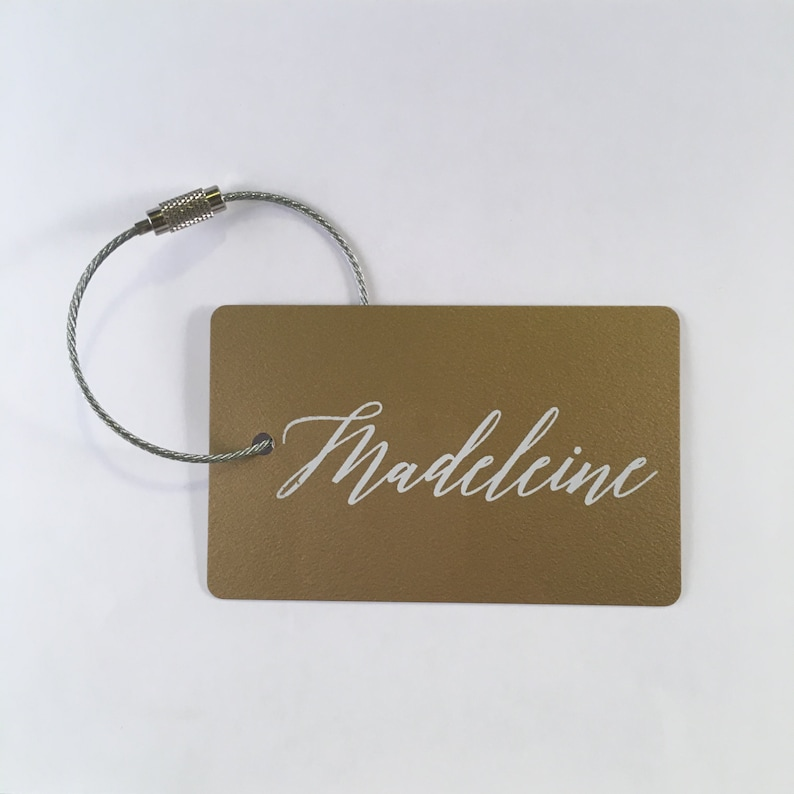 Luggage Tag  FREE SHIPPING Gold and White Personalized image 0