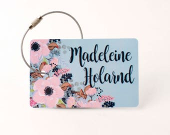 Floral Luggage Tag - FREE SHIPPING, Luggage Tag, Custom Luggage Tag, Personalized Luggage Tag, Bag Tag, Child Luggage Tag, Bride Gift,