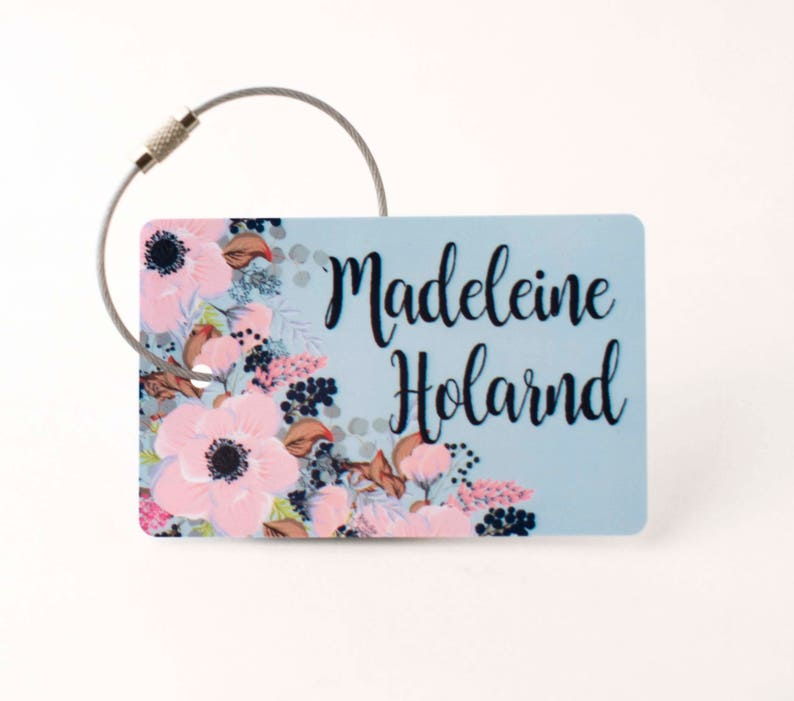 23 Best Travel Gifts for Her featured by top US travel blogger, Marcie in Mommyland: Floral Luggage Tag  FREE SHIPPING Luggage Tag Custom image 0