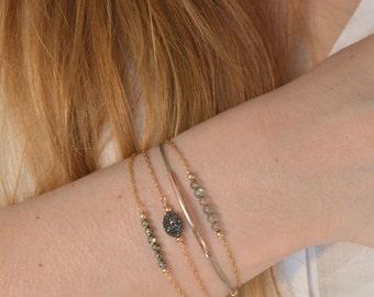 Bracelet Labradorite gold filled * 14 k adjustable