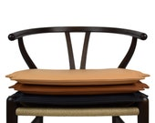 High-quality reversible cushion for Hans Wegner CH24 wishbone chair, aniline leather, made in Denmark