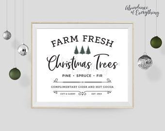 Farm Fresh Christmas Trees - Digital Wall Art Print, Printable, Gallery Wall Art, Digital Print, Christmas, Wall Decor, Sign
