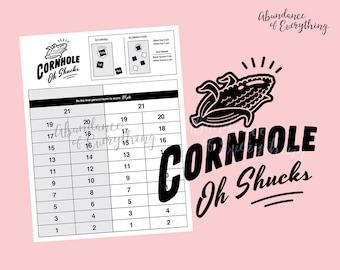 Cornhole (Oh Shucks!) - Digital Cut File & PDF Score Card, Score Sheet, Tournament, SVG, EPS, Silhouette, Cricut, Yard Games, Bean Bag