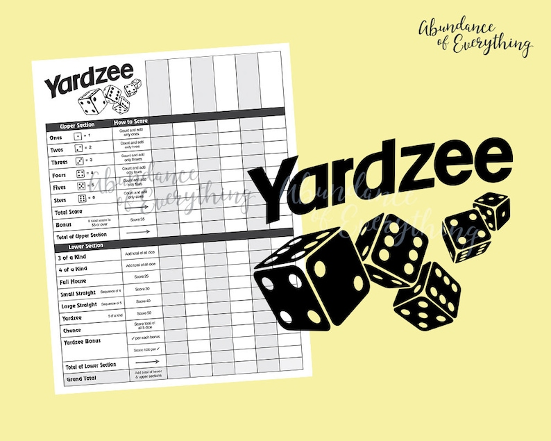Yardzee Yahtzee  Digital Cut File & PDF Score Card Score image 0