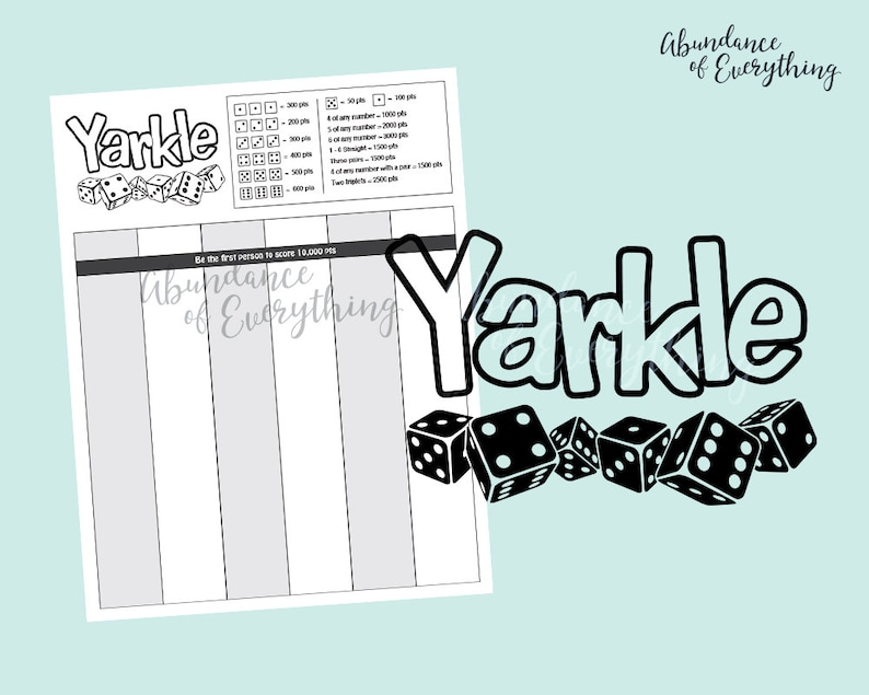 Yarkle Farkle  Digital Cut File & PDF Score Card Score image 0