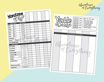 Yardzee (Yahtzee) and Yarkle (Farkle) - Digital Score Card, Score Sheet, PDF, JPG, Silhouette, Cricut, Yard Games, Dice
