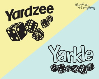 Yardzee (Yahtzee) and Yarkle (Farkle) SVG Bundle - Digital Cut Files, EPS, PNG, Silhouette, Cricut, Yard Games, Dice, Stickers, Vinyl