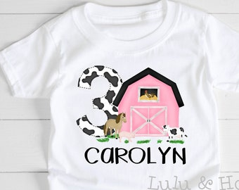 Pink Farm 3rd Birthday Shirt, Barnyard Party with Farm Animals Cow Horse Pig Chicken, Toddler Girl Birthday Outfit, With Number in Cow Print