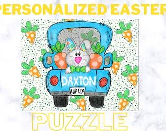 Personalized Easter Puzzle, Easter Gift Toddler Boy, Easter Gift Girl, Easter Basket Filler, Peronalized Bunny Puzzle, Toddler Puzzle