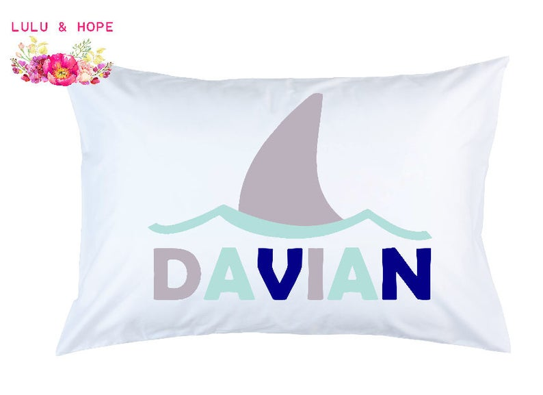 Shark Pillowcase Shark Fin Personalized Pillowcase Shark image 0