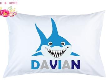 Shark Pillowcase Shark Personalized Pillowcase Shark Travel Pillow Shark Pillow Cover Baby Shower 1st Birthday Gift, Toddler Pillow
