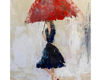 Walking in the Rain, Black Dress Print, Red Umbrella Print, Gift for Her, Girl's Room Decor, Lady with Umbrella, Woman's Bedroom Decor,