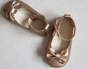gold leather ballet,baby shoes soft sole