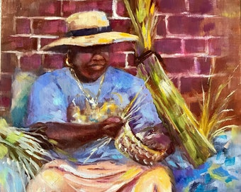Charleston basket weaver painting, original art, 14x11