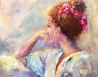 Original oil painting, beautiful woman, 20x16