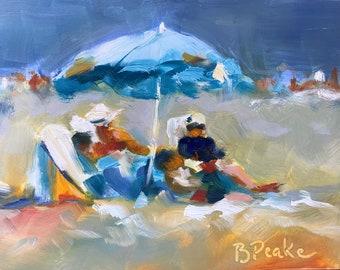 Beach painting, original oil art ,5x7, wall art, shelf decor