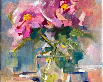 Floral oil painting on canvas, vase of roses, 6x6x1-1/2