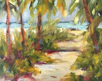Original oil painting, impressionist style, beach scene, landscape, seascape,tropical,5x7,small artwork, south carolina,,charleston painting