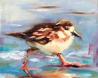 Beach bird painting, original art, 6x6x1.5 canvas