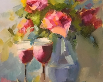Wine and roses original oil painting,7x5 oil painting