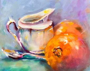 Kitchen art, original oil painting, 8x8, still life