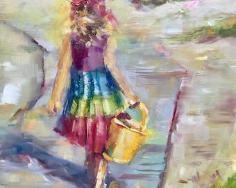Little girl beach painting, original oil painting, 8x10