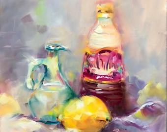 Original oil painting ,kitchen art, modern impressionist, still life