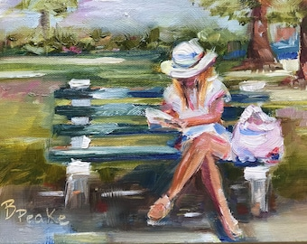 Original art/oil painting/young woman on park bench reading/impressionist style/5x7/small painting/landscape/brenda peake/charleston
