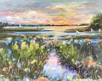 Original salt marsh painting, 16x20 oil on panel