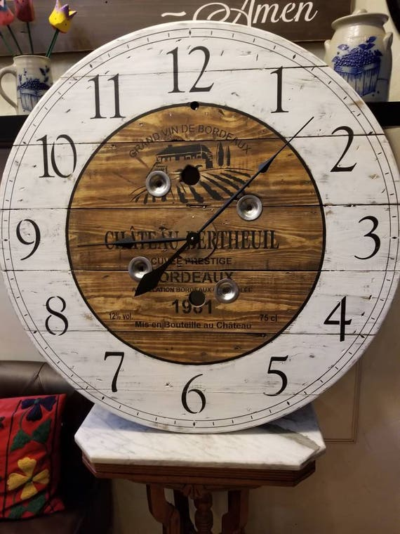 36 Inch Wooden Wire Spool Clock Shabby Chic French Wine Label Clock Housewarming Gift Winelover Clock